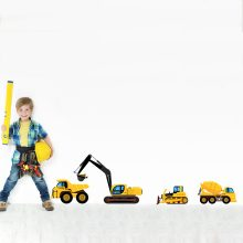 muursticker-werkvoertuigen-kraan-shovel-werk-voertuig-full-colour-heftruck