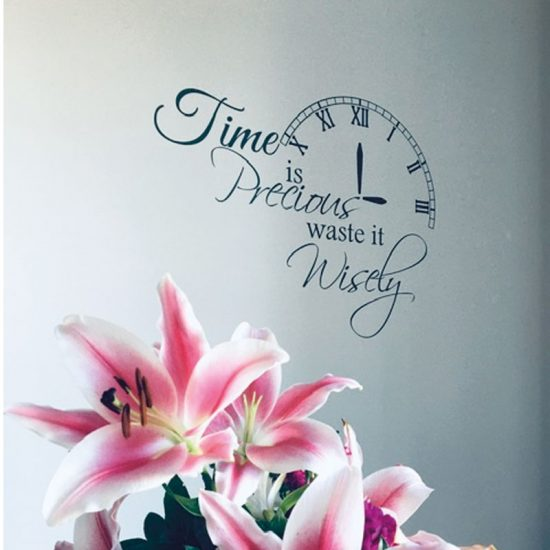 time-is-precious-waste-it-wisely-woonkamer-interieur-sticker-wandsticker-ideeen-inpsiratie-muurdecoratie
