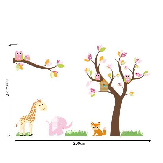Muursticker-boom-dieren-giraffe-olifant-vogels-roze-kinderkamer