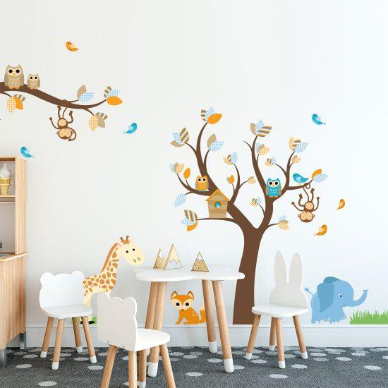 Muursticker Babykamer Boom Met Dieren.Muursticker Boom Met Dieren Voor Babykamer Of Kinderkamer