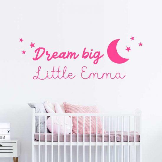 muursticker-dream-big-little-one-babykamer-roze-meisje
