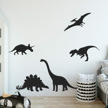 muursticker-dinosaurussen-zwart-wit-groen-dino-tirex-tyrannosaurus-groot