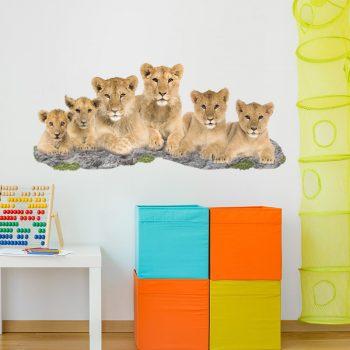 Leeuwen-familie-muursticker