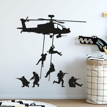 muursticker leger helicopter helikopter soldaten army