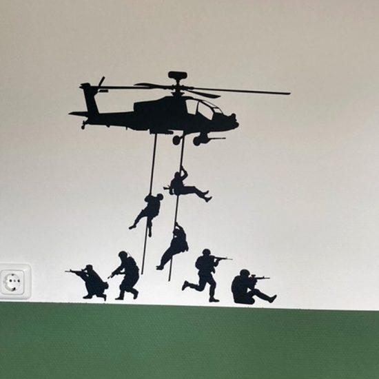 muursticker leger helicopter groen kinderkamer stoer soldaten zwart muurdecoratie