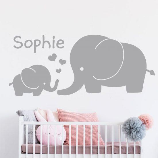 muursticker-olifant-met-naam-roze-wit-zwart