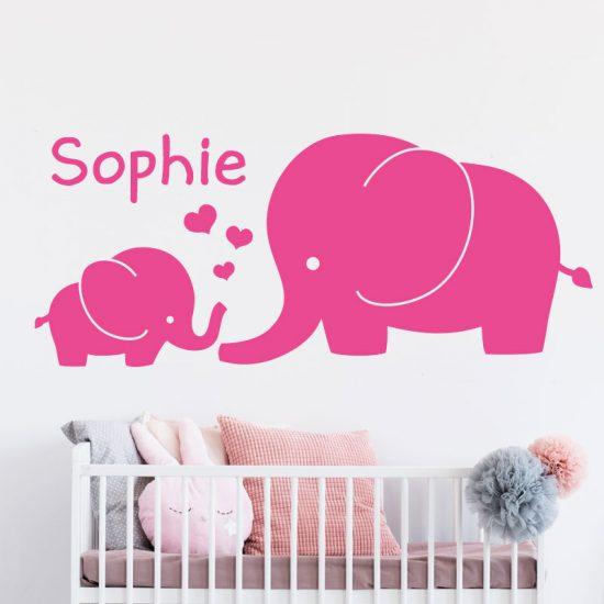 muursticker-olifant-roze