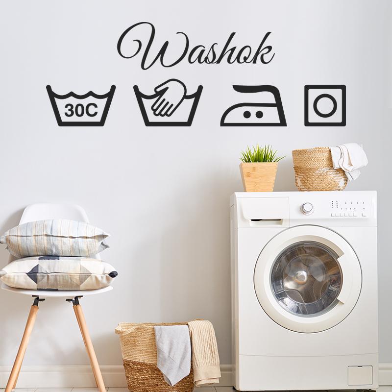 muursticker washok laundy zwart ideeen leuk inspiratie modern kleuren wasmachine 30 graden strijkbout