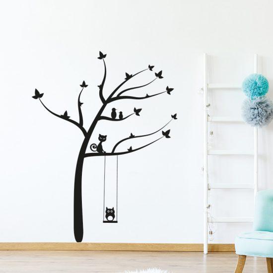 muursticker-boom-dieren-vogels-kat-poes-zwart-wit