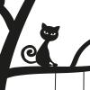 muursticker-kat-poezen-zwart