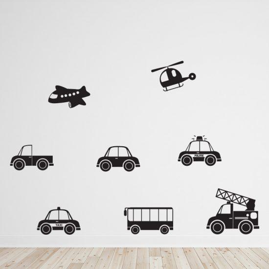 muursticker-voertuigen-autos-vliegtuigen-helicopter-jeep