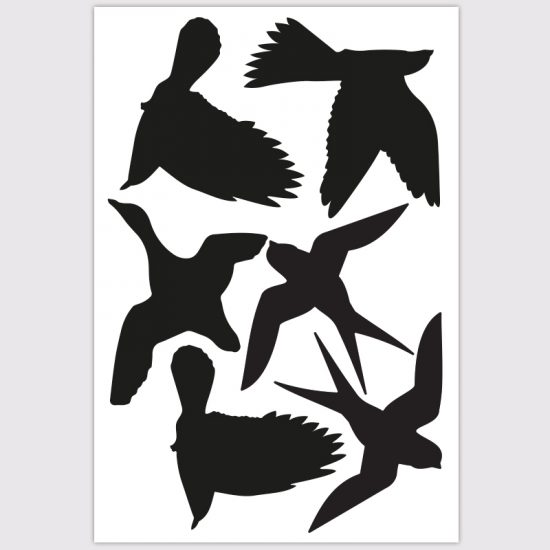 raamsticker deursticker vogels bescherming window zwart wit eend kolbrie zwaluw
