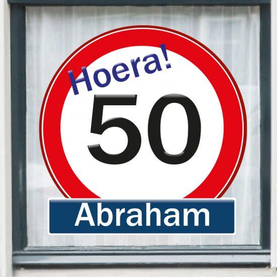 raamsticker abraham 50 jaar