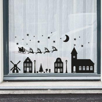 raamsticker-kerst-dorp-statische-herbruikbaar-zwart-wit-slee-christmas