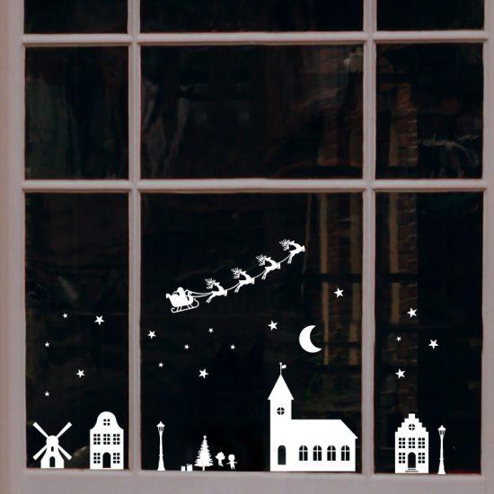 raamsticker statisch folie kerst dorp huisjes herbruikbaar