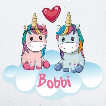muursticker eenhoorn met naam unicorn kleurrijk kinderkamer babykamer muurdecoratie inspiratie ideeen1