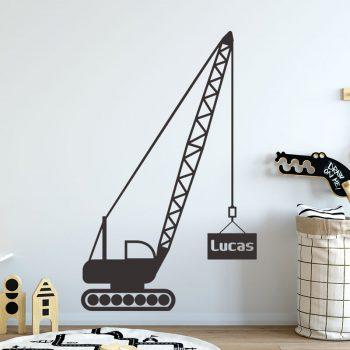muursticker hijskraan kraan werkvoertuigen zwart wit