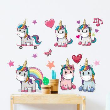 muursticker-unicorns-set-kleurrijk-eenhoorn-babykamer-ideeen-diy-stikkers-kinderkamer-liefde-sterren-hartjes