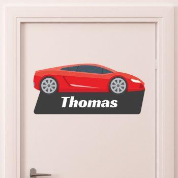 deursticker kinderkamer stoer naam raceauto