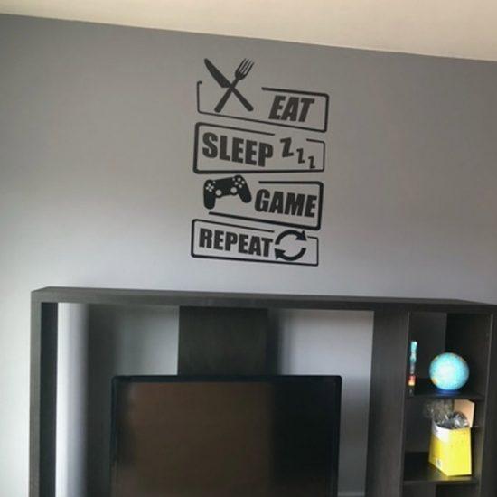eat sleap game repeat interieur sticker woonkamer gameroom ideeen inspiratie