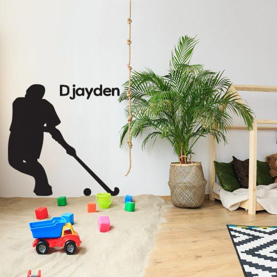 kinderkamer ideeen diy inspiratie leuk muurdecoratie muursticker zwart hockey kamer