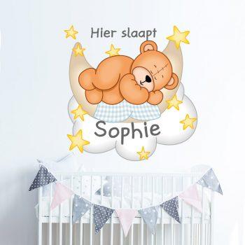 muursticker babykamer hier slaapt naam sticker ideeen diy inspiratie meisjeskamer jongenskamer