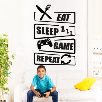 muursticker gaming room gamer eat sleep game repeat playstation