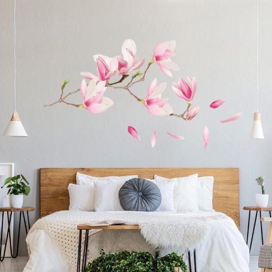 muursticker magnolia kersenbloemsen takken boom bloemen roze