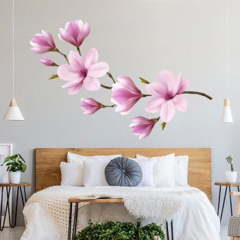 muursticker magnolia kersenbloessem bloemen tak
