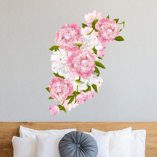 muursticker pioenroos slaapkamer bloem muurdecoratie roos roze wit
