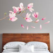 muursticker slaapkamer magnolia kersenbloessem bloemen roze vrolijk