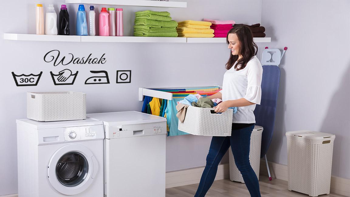 muursticker washok ideeeen leuk inspiratie kleuren laundry sticker