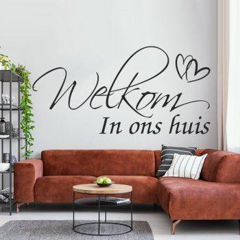 muursticker welkom in ons huis welcome to our home woonkamer entree ideeen inspiratie diy goedkoop leuk