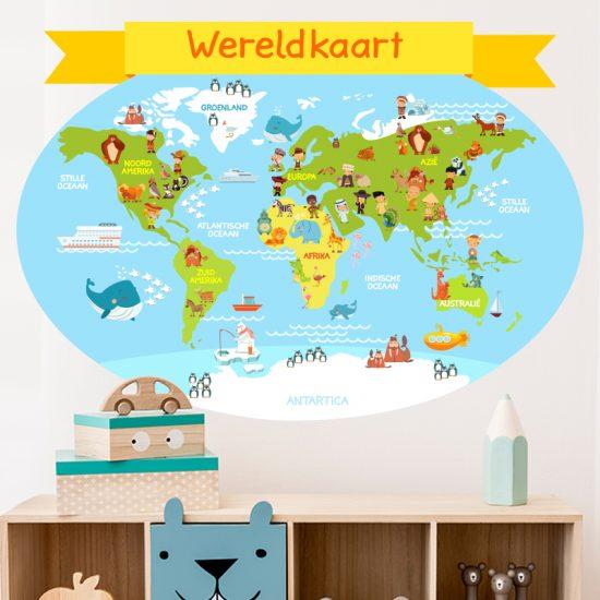 muursticker wereldkaart kinderkamer dieren vrolijk kleurrijk ideeen diy inspiratie