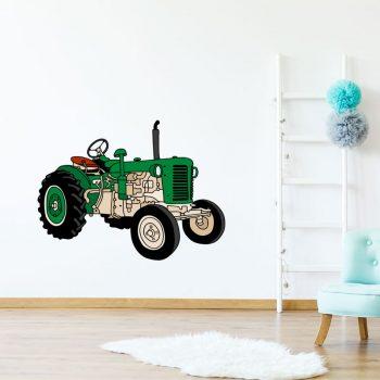 oude tractor muursticker kinderkamer