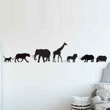 muursticker afrikaanse dieren leeuw welp giraffe luipaard olifant neushoorn