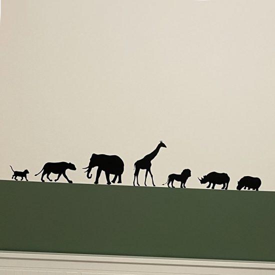 muursticker afrikaanse dieren zwart kinderkamer stoer