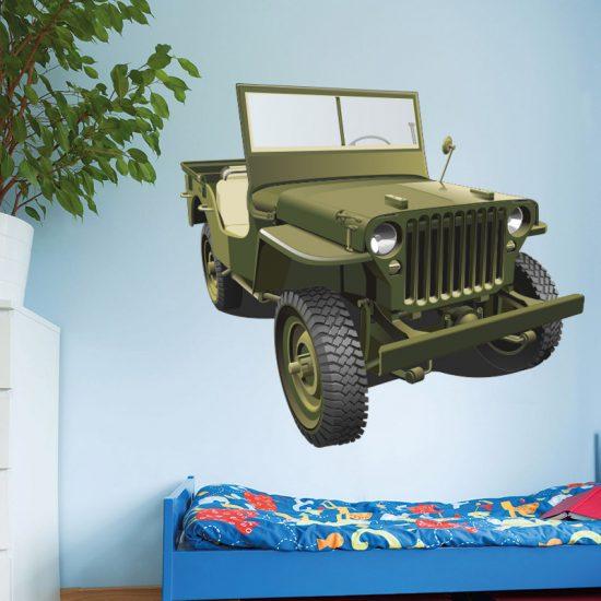muursticker leger auto jeep voertuig
