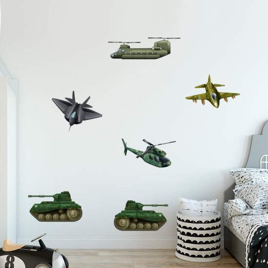 muursticker leger voertuigen auto vliegtuig tank straaljager f16 stoer kinderkamer