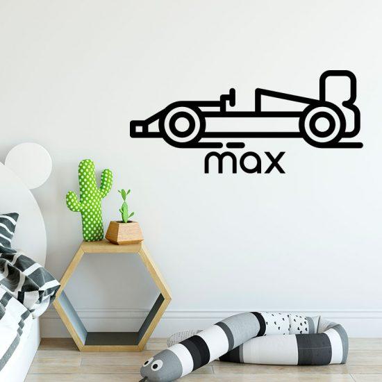 muursticker formule 1 auto met naam raceauto formule1 inspiratie kinderkamer
