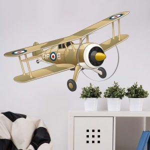Afbeelding van een muursticker met een vliegtuig