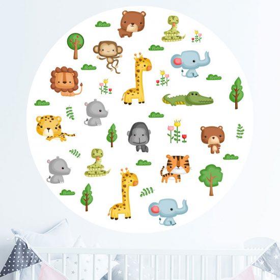 muursticker-babykamer-dieren-kinderkamer-giraffe-leeuw-olifant