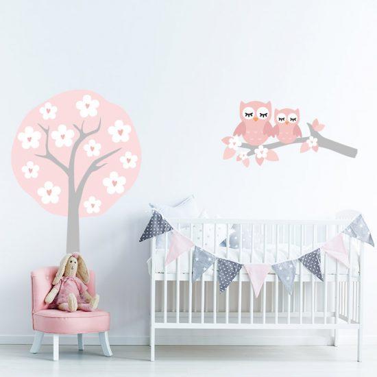 muursticker babykamer zacht roze boom muursticker ideeen inspiratie uilen uiltjes boom tak bloemen