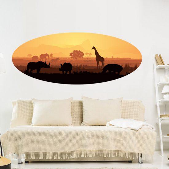 muursticker afrikaanse dieren woonkamer dieren inspiratie ideene leuke living room
