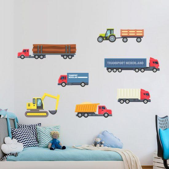muursticker werkvoertuigen kinderkamer stoer kleurrijk vrachtwagen shovel graafmachine laadbak hout truck tractor trekker