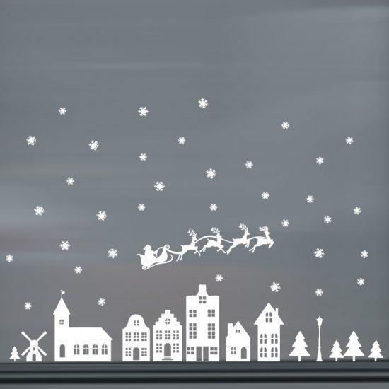 raamsticker kerst groot kerstman merry christmas wit ideeen raam inspiratie