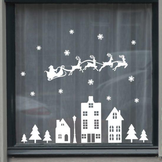 raamsticker wit kerst herbruikbaar dorp huisjes zwart glas