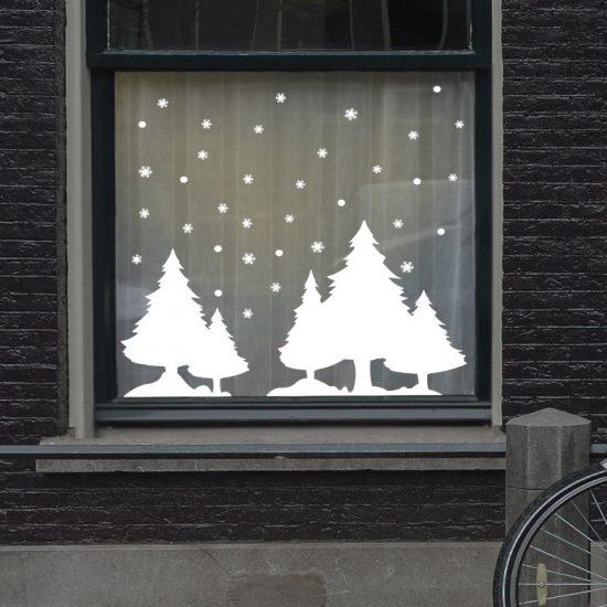 raamstickers kerst ideeen inspiratie sneeuw wit raamdecoratie kerstmis merry christmas