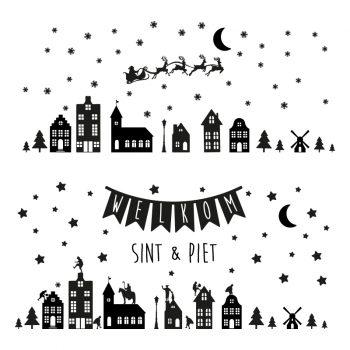 raamstickers sinterklaas sint en piet kerst raamdecoratie ideeen zwart Sinterklaas herbruikbaar statisch