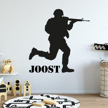 muursticker soldaat met naam leger oorlog sticker kinderkamer